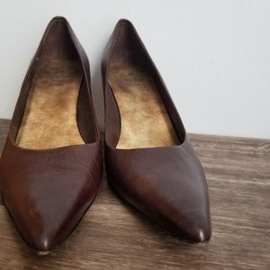 Circa joan and david brown leather wedge pump